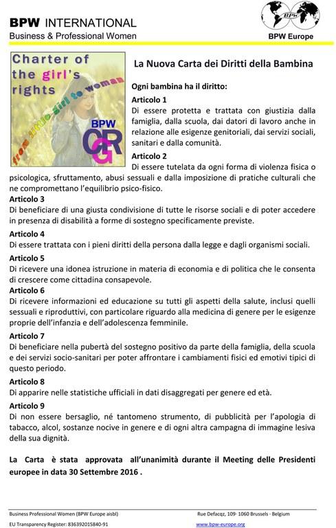 carta dei diritti della bambina
